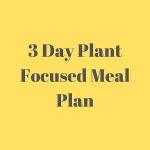 Plant focused meal plan for three days