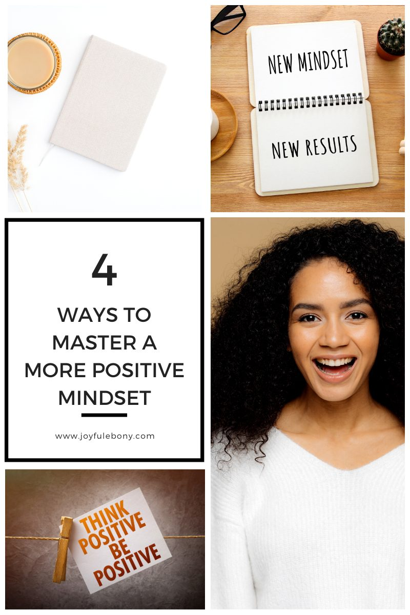 images of a happy woman, an index card showing the words mindset and a journal